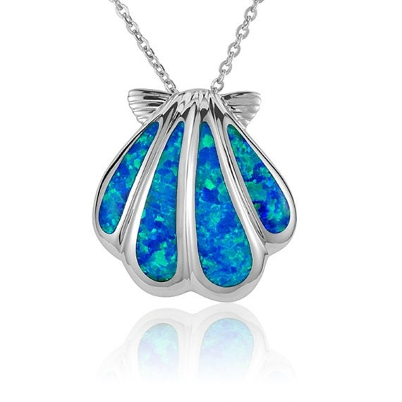 """Sunrise Necklace Opal Sterling Silver Shell Pendant 18"""" Chain"""