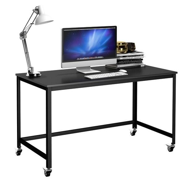 Shop Costway Rolling Computer Desk Wood Top Metal Frame
