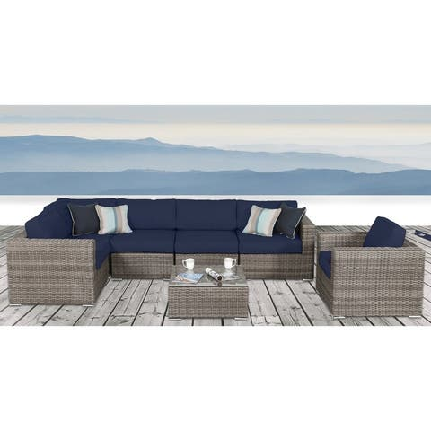 LSI 7 Piece Rattan Sunbrella Sectional Seating Group with Cushions
