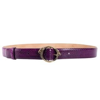 Roberto Cavalli Purple Snakeksin Lion Buckle Leather Belt