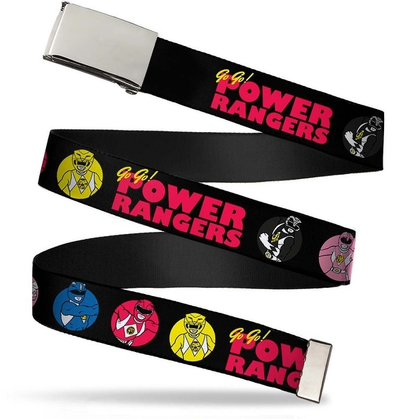 Blank Chrome Buckle Power Ranger Pose Buttons Go Go! Power Rangers Web Belt
