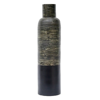 36 Spun Bamboo Bottle Vase - Bamboo In Distressed Black & Matte
