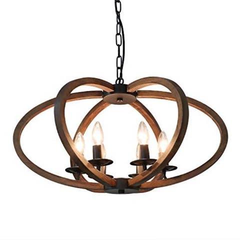 Wood metal antique adjustable island pendant light