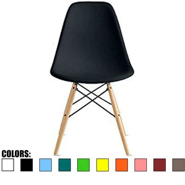 2xhome Designer Plastic Eiffel Chair Natural Wood Legs Retro Dining Armless With Back Desk Accent Living Room Side Dowel DSW