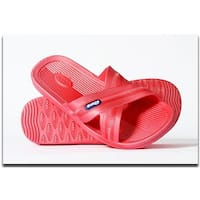 BKSWN Womens One-Piece Rubber Athletic Slide Sandals, Melon -