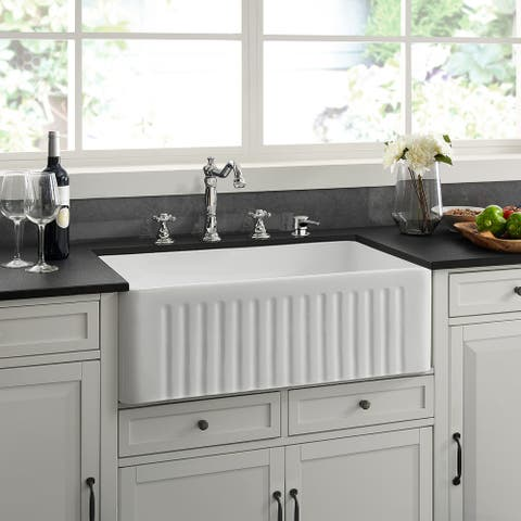 "Delice 30 x 18 Ceramic, Farmhouse Kitchen Sink - 30"" x 18"""