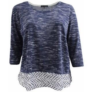 Women Plus Size Round Neck Contrast Sweater Knit Top Blouse Shirt Blue