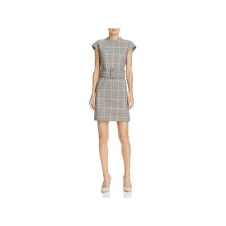 Theory Womens Casual Dress Belted Plaid