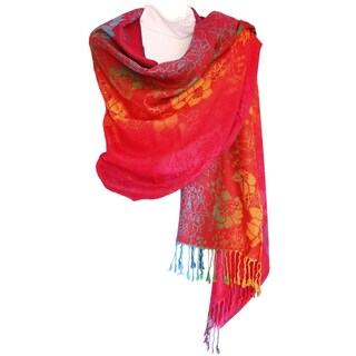 """Pashmina Wrap Shawl Scarf Double Side Rainbow Silky Exotic Tropical Colorful - 28""""x70"""" with fringes"""