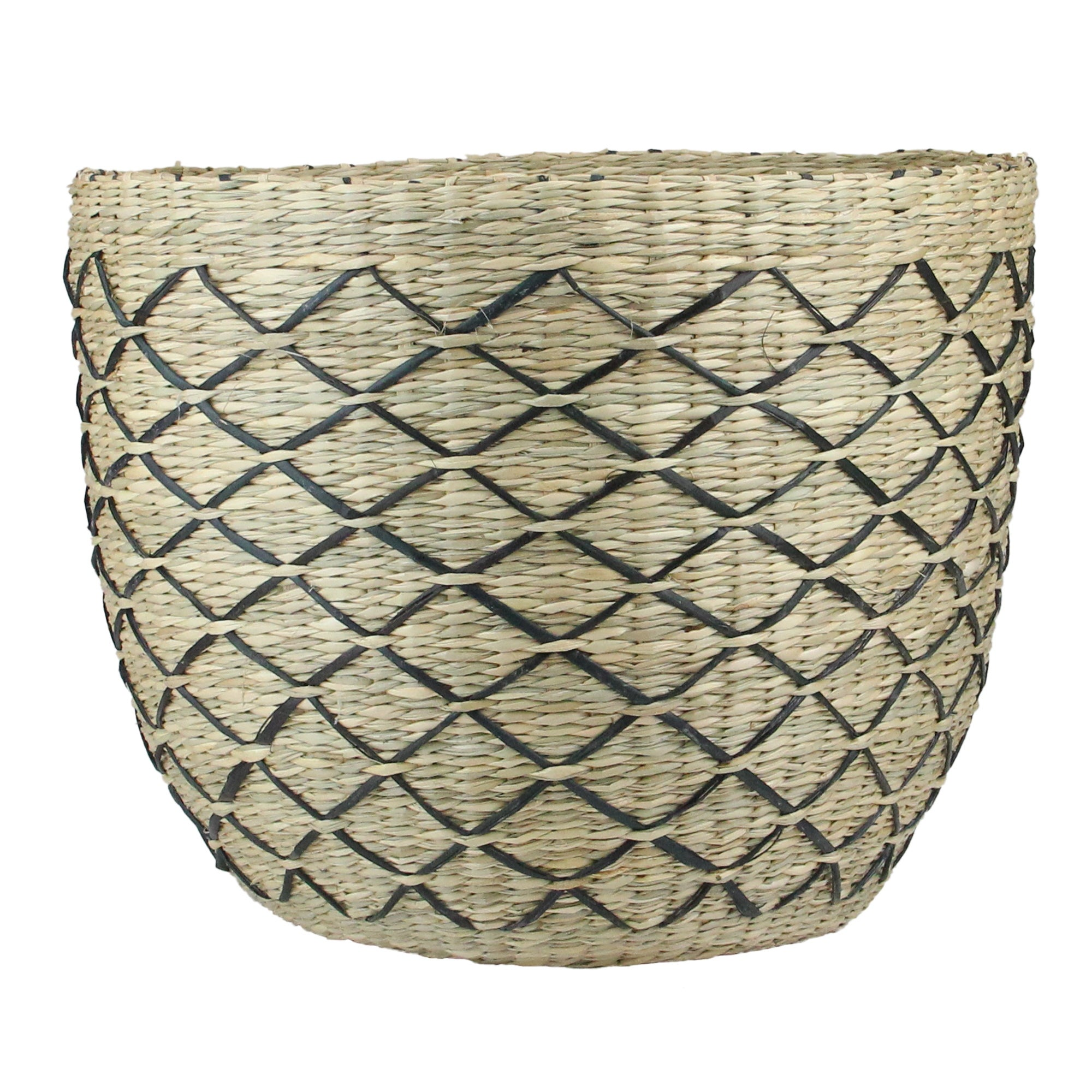 11.25 Natural Brown and Black Lattice Print Woven Seagrass Basket - N/A