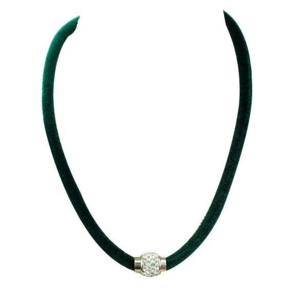 max & MO Rhinestone Magnetic Clasp Velvet Green Choker - Forest Green