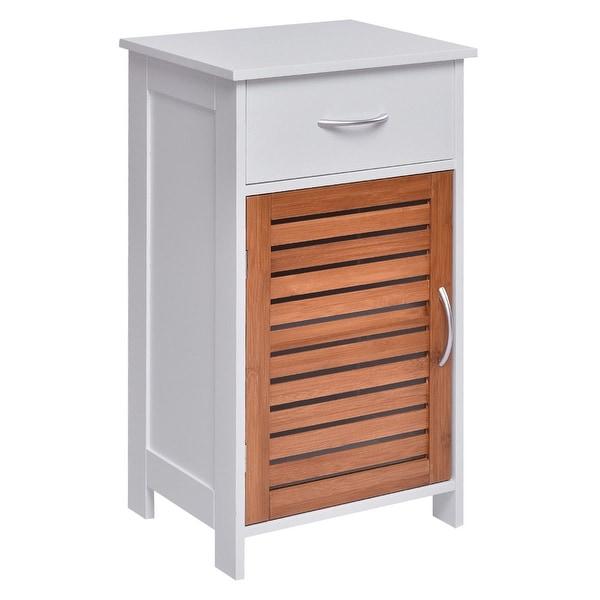 Gymax Floor Cabinet Standing Storage Wall Shutter Door Bathroom Organizer