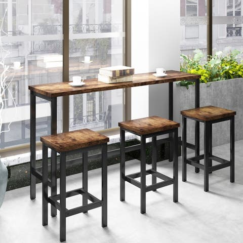 [Pre-sale]Dining Table Set with 3 Stools Kitchen Set Side Table with Footrest