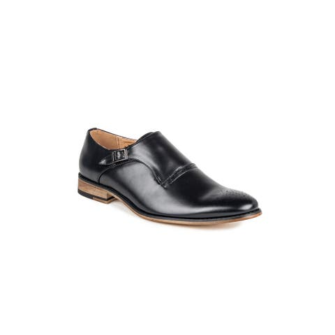 Gino Vitale Men's Monk Strap Cap Toe Brogue Dress loafers