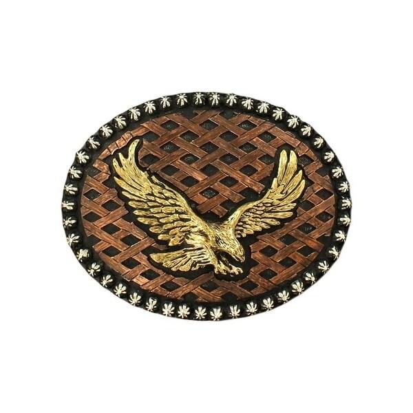 Crumrine Western Belt Buckle Flying Eagle Basketweave Black - 3 3/4 x 4 1/2