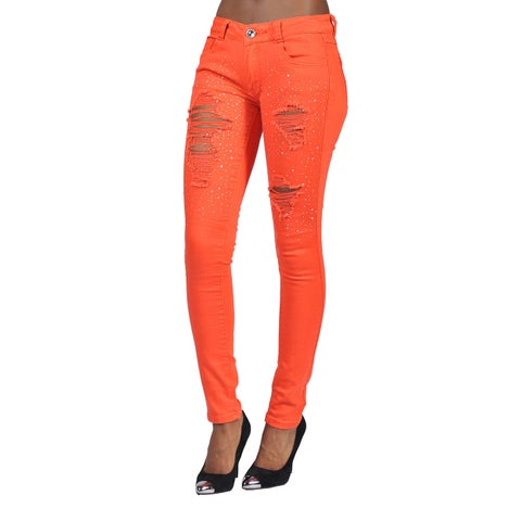 Womens Fashion Rhinestoned Ripped Skinny Jeans Orange Junior Size