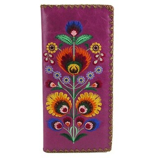 Lavishy Women's Elma Faux Leather Polaska Flower Embroidered Checkbook Wallet - One size