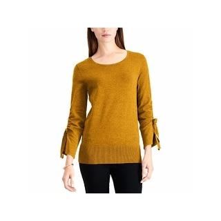 ALFANI Womens Yellow 3/4 Sleeve Jewel Neck Top  Size L