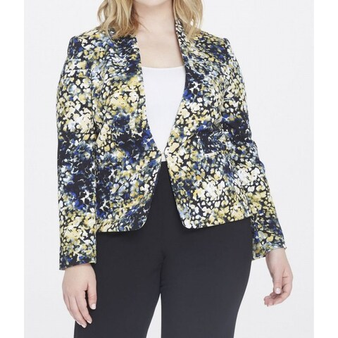 Tahari by ASL NEW Blue Womens Size 22W Plus Spatter-Print Pique Jacket