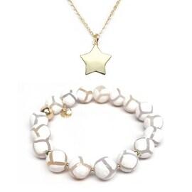 White Agate Bracelet & Star Gold Charm Necklace Set