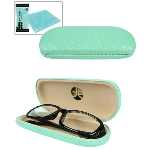 JAVOedge Diamond Pattern Eyeglasses Case with Bonus Microfiber Cloth - turquoise