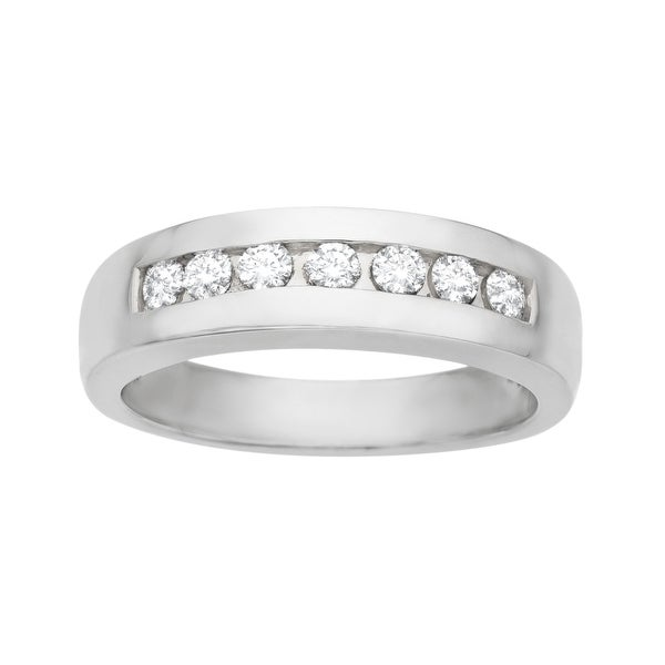 1/2 ct Round-cut Diamond Anniversary Ring in Palladium