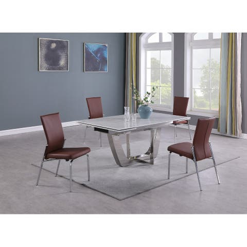Somette Juliet Carrara Marble 5-Piece Dining Set with Blue Chairs