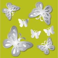 Brewster TMA99951 Variable Sized - 3D Butterflies - Self-Adhesive Repositionable Vinyl Mirror Decal - Set of 14
