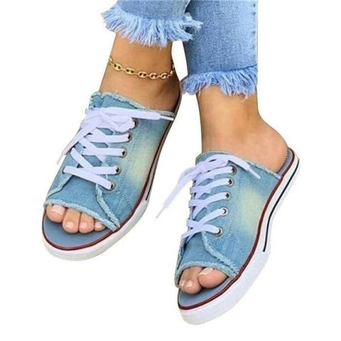 Denim Canvas Lace Casual Flat Ladies Sandals And Slippers