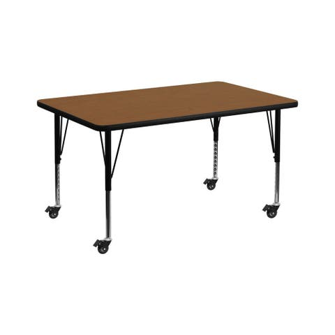 "Offex 36""W x 72""L Mobile Rectangular Activity Table with 1.25"" Thick High Pressure Oak Laminate Top and Pre-School Leg"