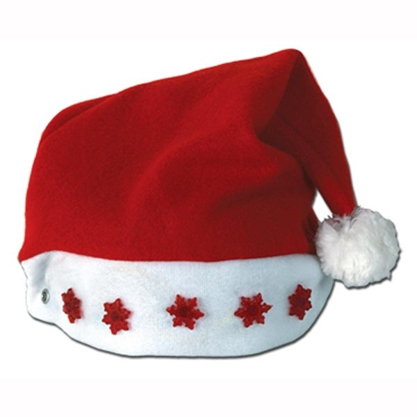 Club Pack of 12 Battery Operated Lighted Santa Hat with Red Snowflake Accents - Adult Sized
