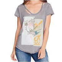 William Rast Gray Womens Size XL Cutout Graphic-Print Knit Top