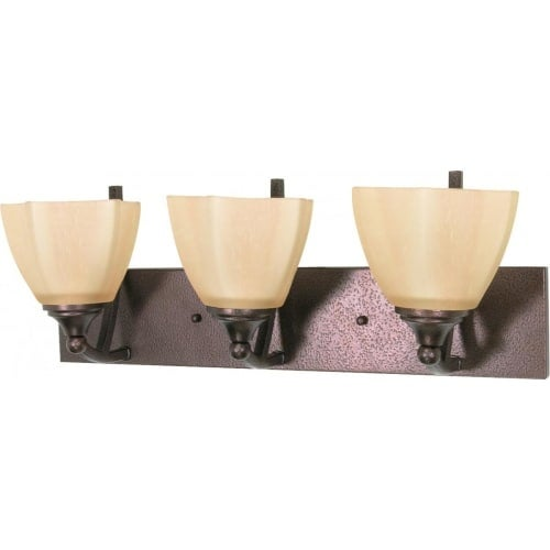 """Nuvo Lighting 60/061 Normandy 3 Light 22"""" Wide Vanity Light with Champagne Washed Linen Glass Shades"""