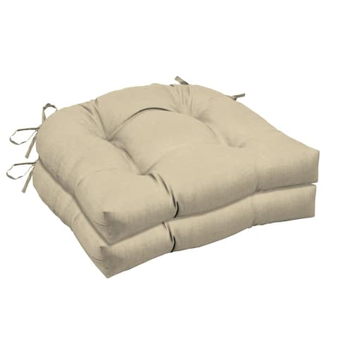 Arden Selections New Tan Leala Texture Wicker Seat Cushion 2-pack - 18 in L x 20 in W x 5 in H