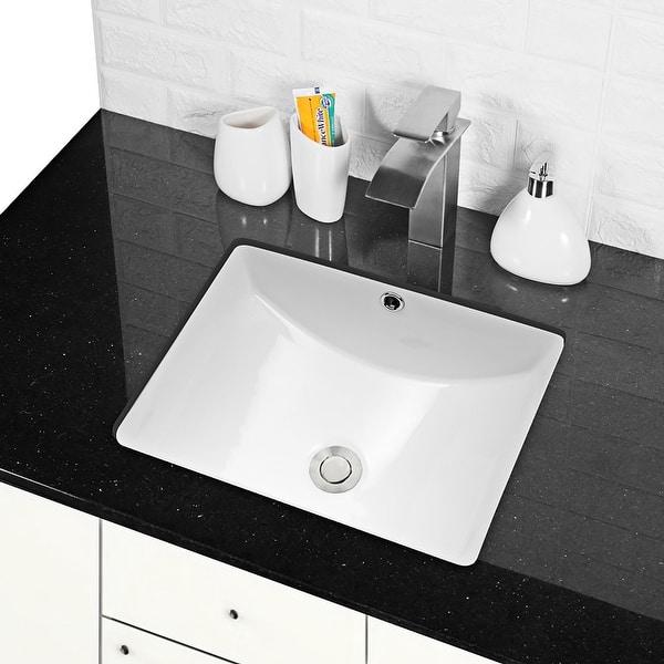 White Rectangular Undermount Bathroom Sink With Overflow On Sale Overstock 31633440