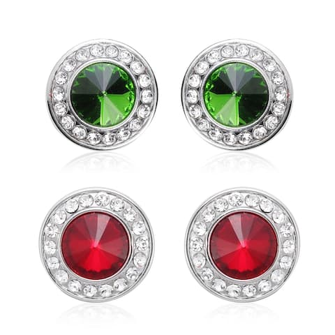 Set of 2 Red Green Glass Crystal CuffLink Button Covers Silvertone