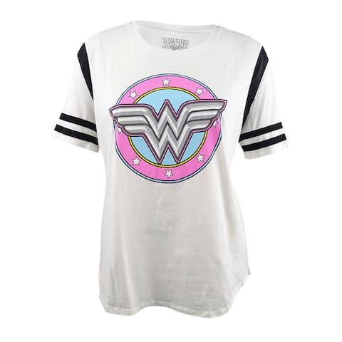 Hybrid Women's Trendy Plus Size Wonder Woman Graphic T-Shirt (3X, White/Black) - White/Black - 3X