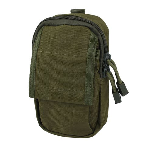 Outdoor Running Nylon Zipper Closure Key Pouch Phone Belt Bag Army Green