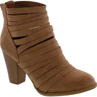 Mi Im Urban-04 Women's Rear Zipper Cut Out Strappy Stacked Chunky Ankle Booties