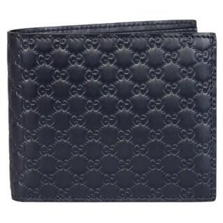 Gucci Men's 260987 Blue Leather MICRO GG Guccissima Bifold Wallet