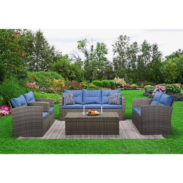5 Piece Outdoor Living Patio Rattan Conversation Sofa Set With Cushions Overstock 31457528