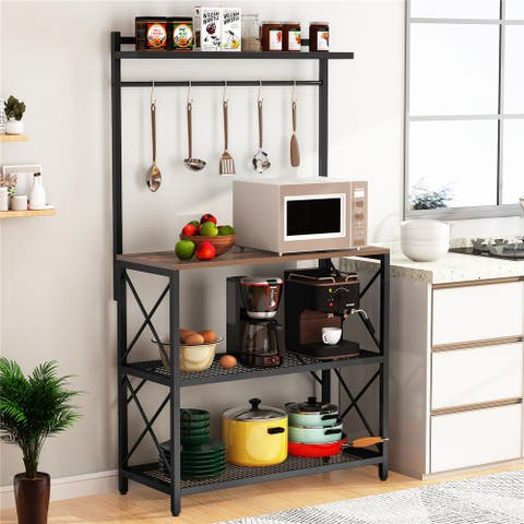 Kitchen Bakers Rack Microwave Oven Stand Rack with 5 Hooks
