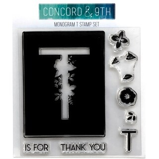 """Monogram T - Concord & 9th Clear Stamps 4""""X4"""""""