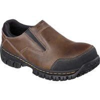 Skechers Men's Work Relaxed Fit Hartan Steel Toe Slip On Shoe Dark Brown
