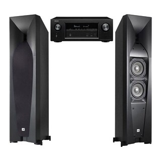 JBL Studio 580 Tower Speakers with Denon AVR-X2300W Receiver