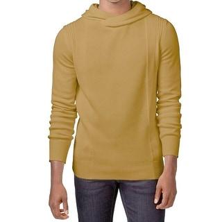 Sean John NEW Gold Brown Heather Men Medium Rib-Texture Hooded Sweater
