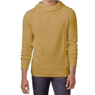 Sean John NEW Gold Mens Size Medium M Texture Knit Hooded Sweater