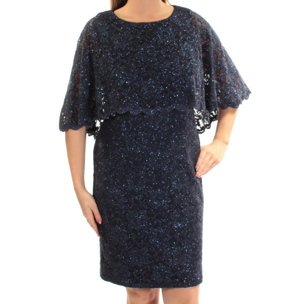 JESSICA HOWARD  129 Womens New 1363 Navy Glitter Lace Sheath Dress 12 B+B - Free  Shipping Today - Overstock - 28058641 65788d628aba