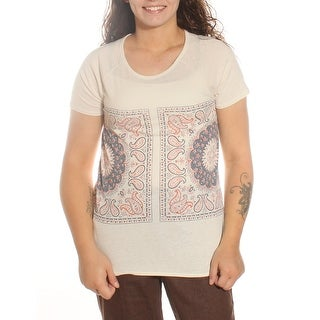 LUCKY Womens New 9045 Ivory Paisley Short Sleeve Scoop Casual Top S B+B