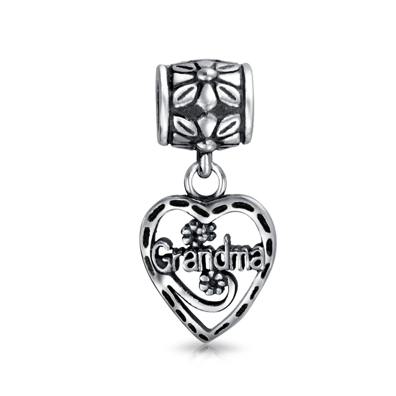 .925 Sterling Silver MOM HEART Dangle Bead CHARM fits EUROPEAN Bracelet